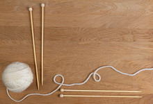 Wooden Knitting Needles And Ba...