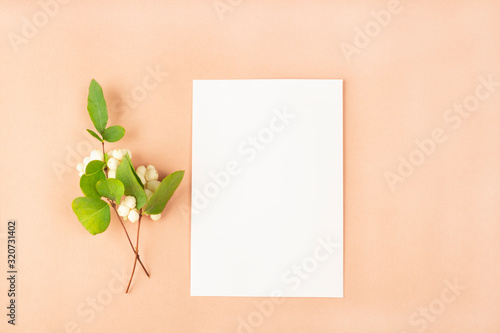 Invitation card mockup. Template blank greeting card to the wedding, birthday and other events. Paper on peach color background with white flowers. Concept of writing romantic for Valentines day