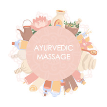 Vector Illustration Ayurvedic Massage.    Shirodhara Treatments Equipment In The Circle Composition With A Label For Your Text. Essential Oil Bottles, Mortar, Pitcher, Candles In The Round Frame.