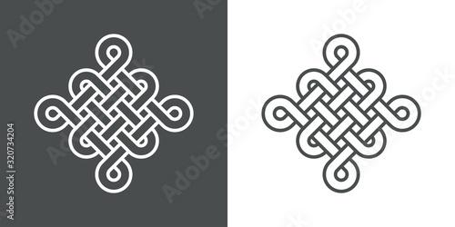 Icono plano lineal nudo chino en fondo gris y fondo blanco Canvas Print