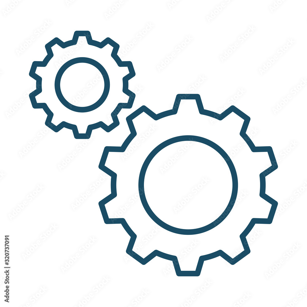 Fototapeta High quality dark blue outlined gear cog icon. Pictogram, technology, object. Useful for web site, banner, greeting cards, apps and social media posts.