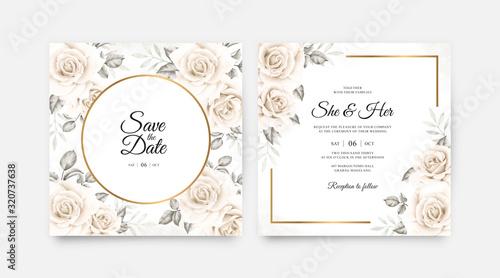 Obraz Elegant wedding card set template with beautiful floral watercolor - fototapety do salonu