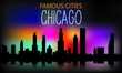 Vector silhouette of the night city on a background of multi-colored sky. Chicago . Vector illustration