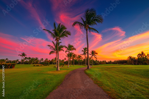 Tropical golf course at sunset in Dominican Republic, Punta Cana