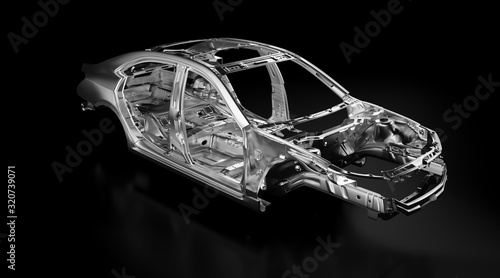 Photo Side view of production sedan car stainless steel or aluminium body and chassis frame