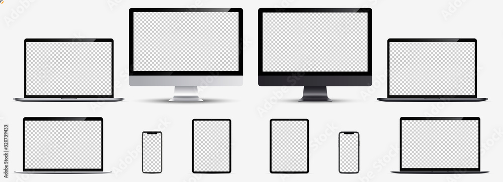 Fototapeta Screen mockup. Smartphone, tablet, laptop and monoblock monitor silver and black color with blank screen for you design. Vector illustration Ai 10