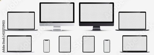 Fototapeta Screen mockup. Smartphone, tablet, laptop and monoblock monitor silver and black color with blank screen for you design. Vector illustration Ai 10 obraz