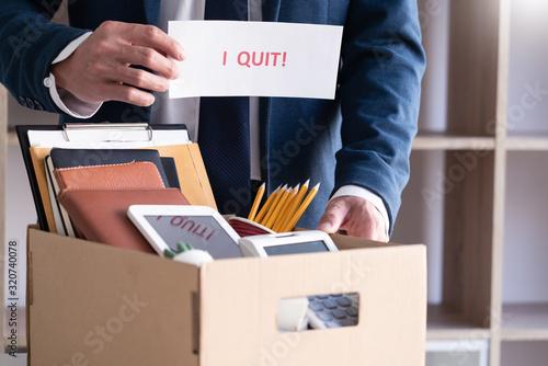 Businessman holding with I quit words card letter, resign employee Change of job concept Billede på lærred