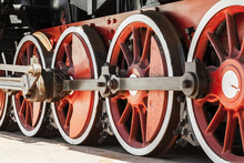 Red Wheels Of Vintage Steam Locomotive