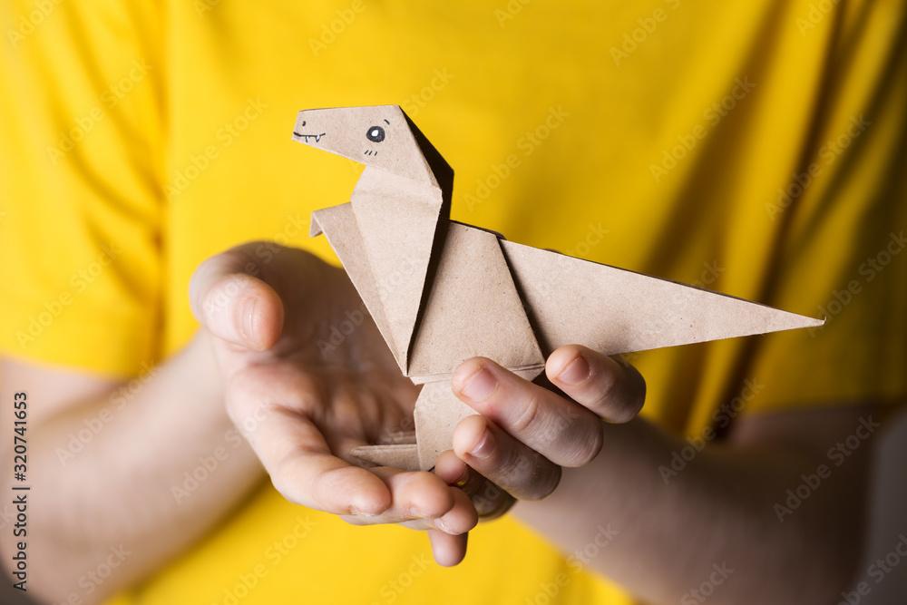 Fototapeta origami bird made of colored paper
