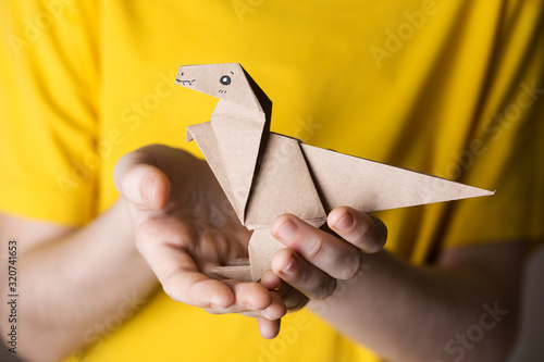 Fotografie, Obraz origami bird made of colored paper