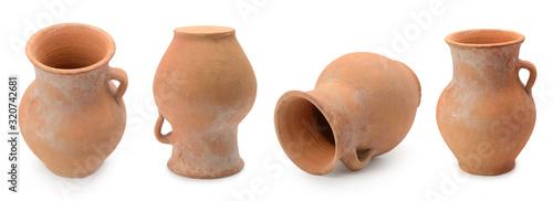 Fototapeta Handmade clay jugs panorama isolated on white obraz
