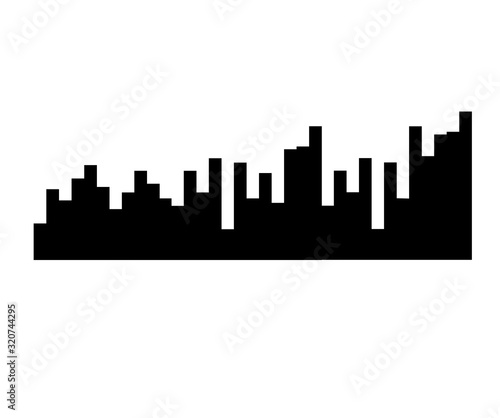Fototapety, obrazy: Black music sound waves. Audio technology, musical pulse. Vector object for design, mockup.