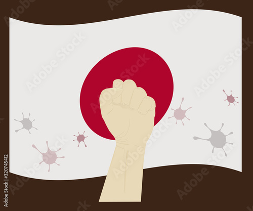 Fist power hand with novel corona virus or covid-19 virus stain on the National Flag of Japan, Fight for japanes concept, cartoon graphic, sign symbol background, vector illustration Canvas Print