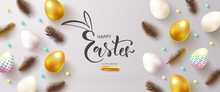 Happy Easter Banner With Decorated Eggs And Feathers.Festive Background For Postcards, Posters And Advertising Materials.Vector Illustration