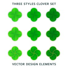 Set Of Stylized Four-leaf Clov...