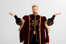 King With Crown Showing Outstretched Hands Isolated On Grey