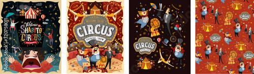 Fotografie, Obraz Welcome to the circus! Vector illustrations for a poster, invitation or banner with drawings of the arena, host, clown, magician, gymnasts and animal lion