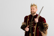 Smiling King With Crown Holding Sword And Showing Like Isolated On Grey