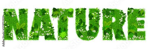 Obraz na plátně Mot «NATURE» composé de lettres florales - illustration vectorielle d'un gazon fleuri