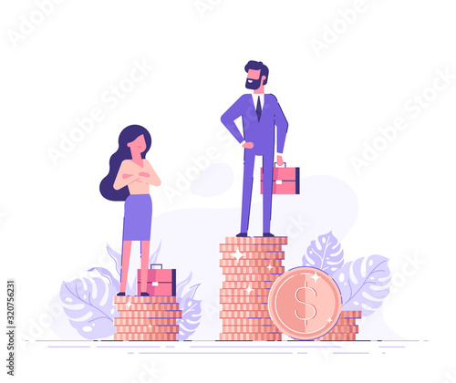Businessman and businesswoman are standing on stacks of coins representing wages level Canvas