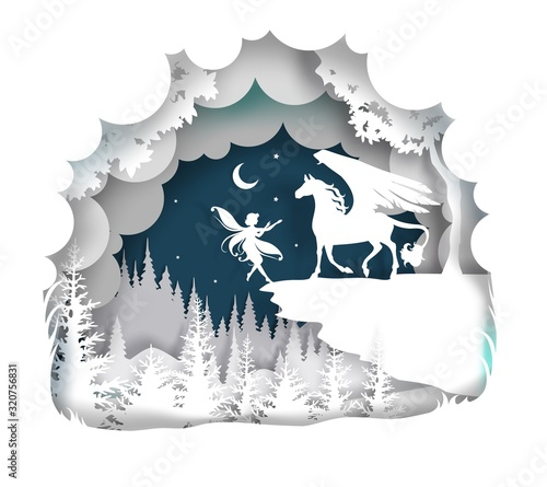 Fairytale Pegasus, vector illustration in paper art style