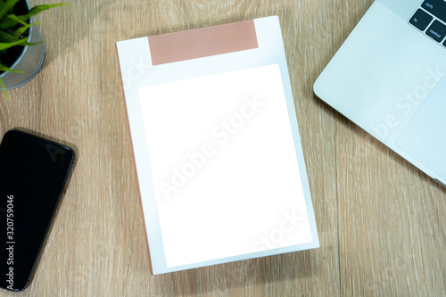 Empty cover book on the desk; for insert advertising text copy Wallpaper Mural