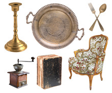 Big Set Of Gorgeous Old Vintage Items Isolated On White Background.
