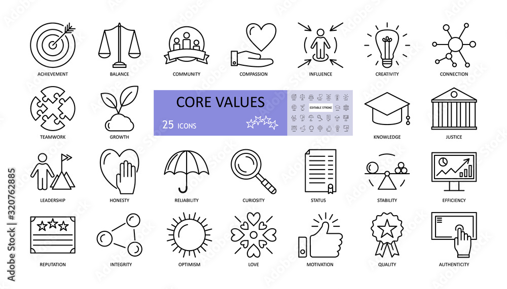 Fototapeta Vector set of core values icons with editable stroke. achievement, balance, compassion, community, creativity, curiosity, reliability, growth, honesty, influence, knowledge, leadership, teamwork