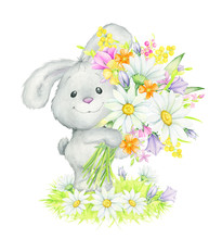 Cute Rabbit Stands With A Bouquet Of Flowers On The Grass. Watercolor Concept, On An Isolated Background. Cute Animal, For Easter , Birthday, Children's Holiday.