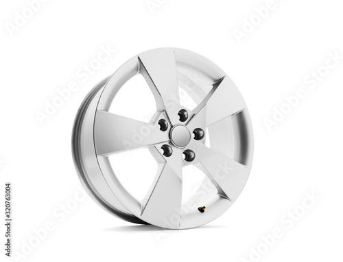 Car alloy wheel on white background, including clipping path Canvas Print