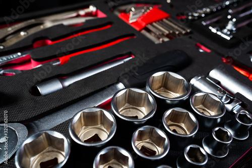 Fototapeta Professional work tools set for technicians in a stylish box. obraz