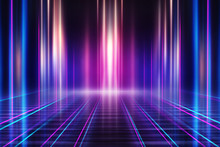 Abstract Dark Background With Blue And Pink Neon Glow. Neon Light Lines. Show Empty Stage Background