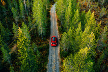 Aerial View Of Red Car With A ...
