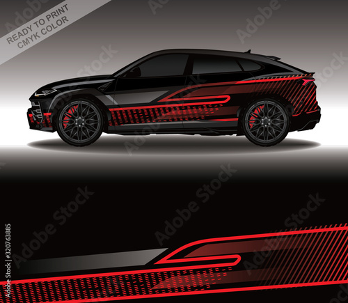 Fotografiet Car wrap decal design vector, custom livery race rally car vehicle sticker and tinting