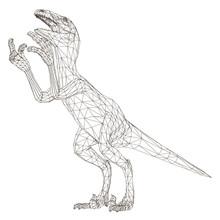 Wireframe Polygonal Dinosaur. ...
