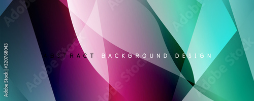Wave liquid style lines with shadows and light on gradient background Wallpaper Mural