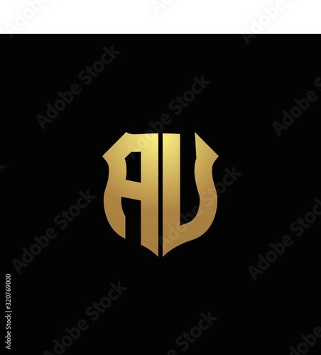 AU logo monogram with gold colors and shield shape design template Wallpaper Mural