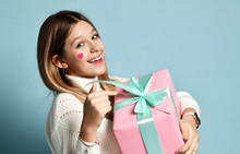 Smiling Teen Kid Girl Celebrat...