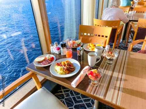 Dining Room Buffet aboard the luxury abstract cruise ship Wallpaper Mural