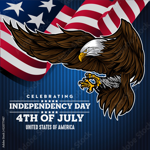 Fototapeta Flat background with eagle  for usa independence day vector