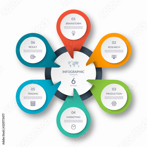 Photographie Infographic circle diagram template with 6 options