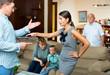 Leinwandbild Motiv Quarrel between husband and wife in a large family
