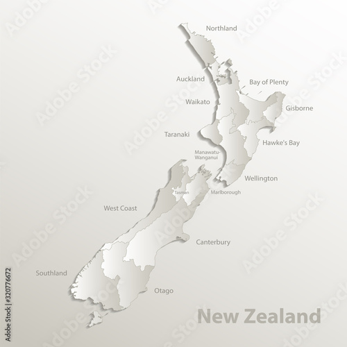New Zealand map, administrative division, separates regions and names, card pape Canvas Print