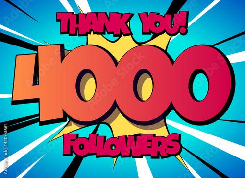 Fototapeta Thank You 4000 followers Comics Banner