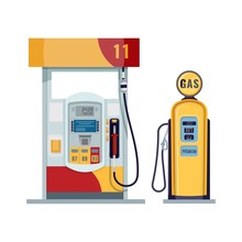 Gas Or Petrol Station. Gasoline, Oil, Fuel, Diesel Pump. Retro And Modern Design. Vector