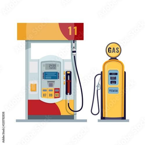 Gas or petrol station. Gasoline, oil, fuel, diesel pump. Retro and modern design. Vector