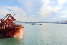 Type Of Cargo Terminal And Cranes, Berths For Transshipment Of Bulk Cargo Iron Ore. Port Rizhao, China.