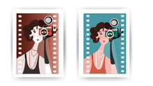 Lady With Camera In Her Hand In Retro Style. Vintage Postcard With Flapper Woman Portrait In Art Deco. Elegance Glamour Model.