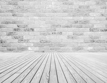Light Gray And White Bricks On The Wall And White Wooden Floor Decoration. Texture And Background Concept.